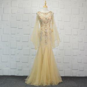 Luxury / Gorgeous Champagne Handmade  Beading Evening Dresses  2019 Trumpet / Mermaid Crystal Rhinestone Sequins Scoop Neck Bell sleeves Sweep Train Formal Dresses