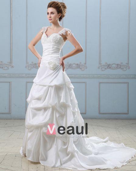 Applikationer Handgjorda Blomma Alskling Spets Skuldra Taft Balklänning Brudklänningar Bröllopsklänningar