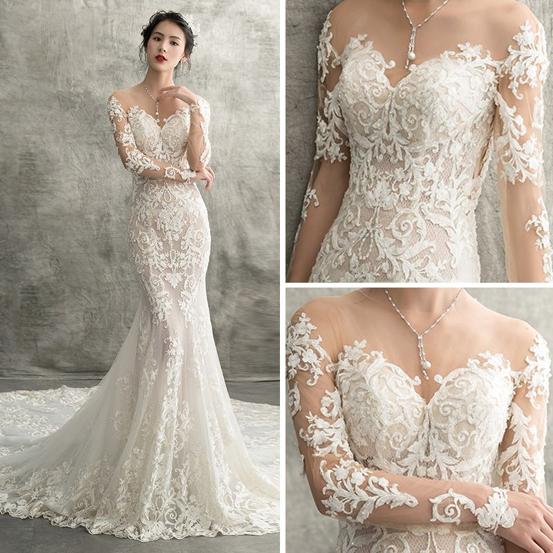 Charming Ivory See-through Wedding Dresses 2018 Trumpet / Mermaid Scoop Neck Long Sleeve Appliques Pierced Lace Chapel Train