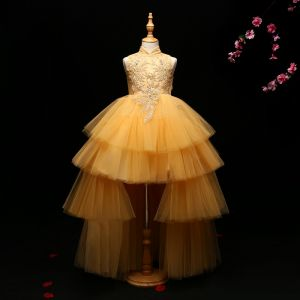 Chic / Beautiful Detachable Flower Girl Dresses 2017 Ball Gown Lace Appliques Crystal High Neck Sleeveless Asymmetrical Wedding Party Dresses