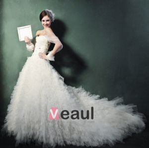 Süße Prinzessin Winter Gurte Trailing Brautkleid