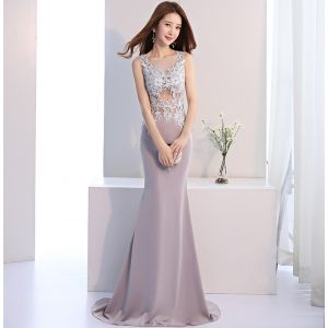 Classic Elegant Grey Evening Dresses  2017 Trumpet / Mermaid Lace U-Neck Sequins Beading Backless Evening Party Formal Dresses