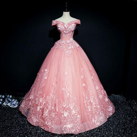 Piękne Cukierki Różowy Sukienki Na Bal 2017 Suknia Balowa Z Koronki Kwiat Perła Cekiny Przy Ramieniu Bez Pleców Kótkie Rękawy Długie Sukienki Wizytowe
