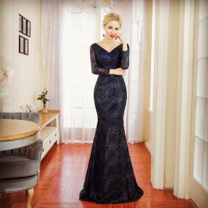 Chic / Beautiful Navy Blue Evening Dresses  2018 Trumpet / Mermaid Beading Sequins V-Neck Backless Long Sleeve Sweep Train Formal Dresses