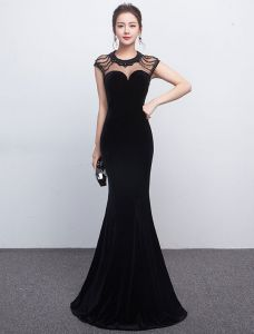 Sexy Mermaid Evening Dress 2017 Beaded Black Formal Dress