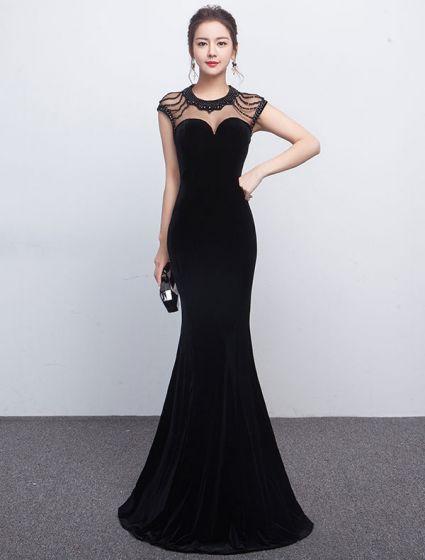 Sexy Mermaid Evening Dress 2017 Beaded Black Formal Dress