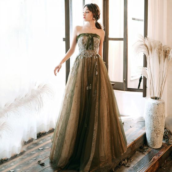 Chic / Beautiful Clover Green Evening Dresses  2020 A-Line / Princess Strapless Sleeveless Appliques Sequins Glitter Tulle Floor-Length / Long Ruffle Backless Formal Dresses