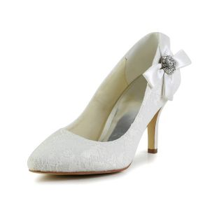 Elegant Stiletto Heels 3 Inch Pumps White Lace Bridal Shoes With Rhinestone Bow