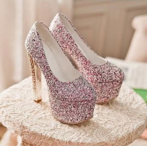 Sparkly Red Pumps With Platform 6 Inch Glitter High Heel Prom Shoes