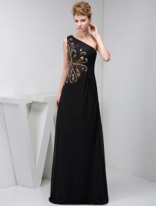 2015 Elegant A-line One Shoulder Beading Black Formal Dress Long Evening Dresses
