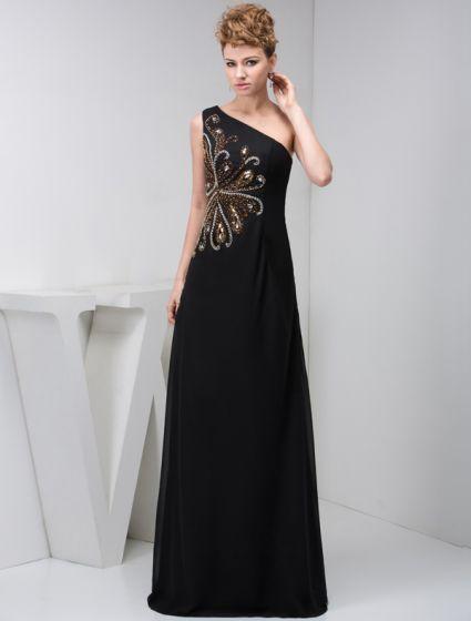 2015 Elegant A-line One Shoulder Beading Black Formal Dress Long Evening Dresses