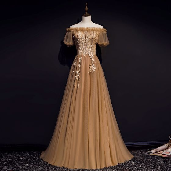 High-end Brown Evening Dresses  2020 A-Line / Princess Off-The-Shoulder Puffy Short Sleeve Appliques Lace Beading Sweep Train Ruffle Backless Formal Dresses
