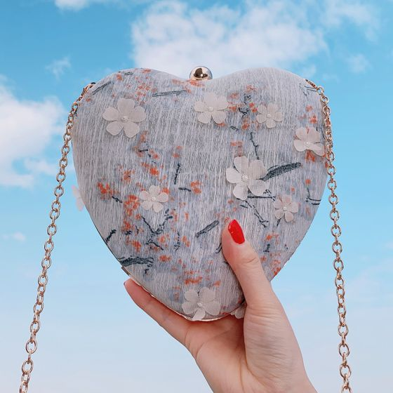 Chinese style Grey Appliques Flower Heart-shaped Clutch Bags 2020