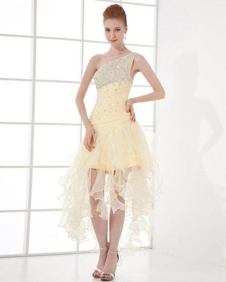 Mousseline De Soie Robe De Retour De Mode Plissee Perles En Pente Asymetrique