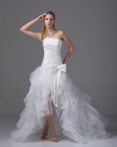 Hoch Niedrig Trägerlosen Asymmetrische Organza Satin Bowknot Kurz Brautkleider Mini