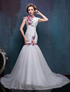 2016 Haute Cou Appliques Fleurs Colorées De Robe De Mariée Sirène Améliorée Cheongsam