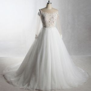Amazing / Unique Ivory Cathedral Train Wedding 2018 A-Line / Princess Long Sleeve U-Neck Tulle See-through Appliques Backless Pierced Wedding Dresses