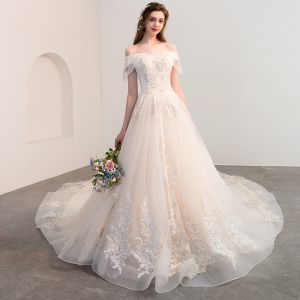 Elegant Champagne Wedding Dresses 2018 A-Line / Princess Off-The-Shoulder Backless Short Sleeve Beading Tassel Appliques Lace Cathedral Train Ruffle
