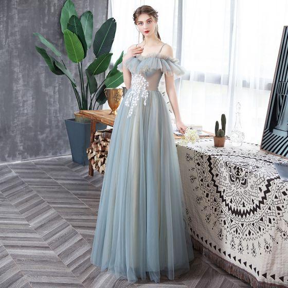 Abordable Bleu Ciel Transparentes Robe De Bal 2020 Princesse Volants Bretelles Spaghetti Appliques Sans Manches Dos Nu Longue Robe De Ceremonie