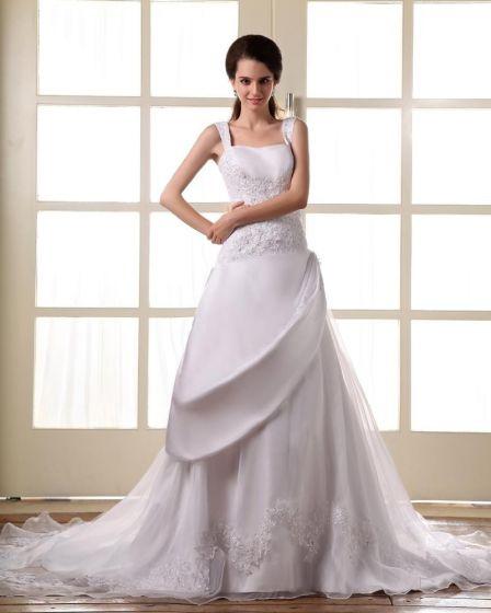 Perlen Satin Spitze Schultergurte Gericht A Linie Brautkleider Hochzeitskleid