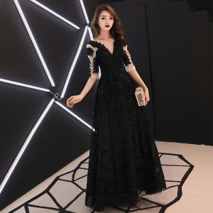 Chic / Beautiful Black See-through Evening Dresses  2019 A-Line / Princess Square Neckline 1/2 Sleeves Glitter Sequins Floor-Length / Long Ruffle Backless Formal Dresses