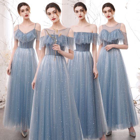 Mode Himmelsblå Stjärna Paljetter Tärnklänningar 2021 Prinsessa Av Axeln Korta ärm Halterneck Långa Klänning Till Bröllop