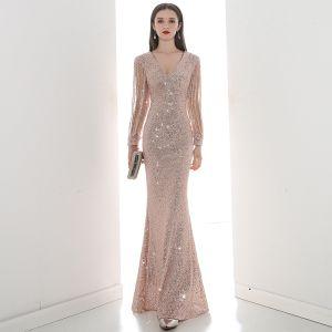 Sparkly Champagne Sequins Evening Dresses  2020 Trumpet / Mermaid V-Neck Long Sleeve Beading Floor-Length / Long Formal Dresses