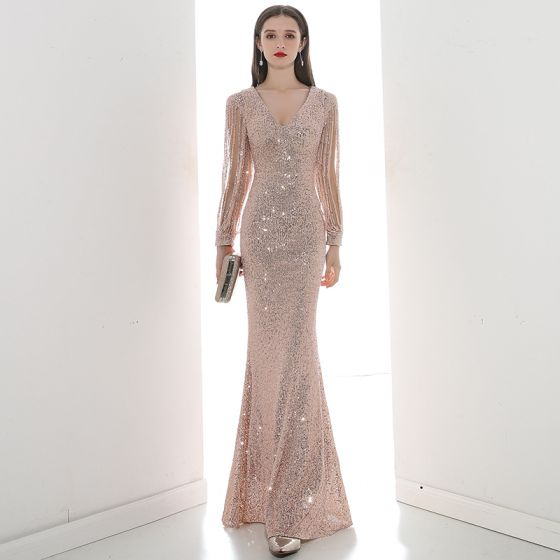 Sparkly Champagne Sequins Evening Dresses  2020 Trumpet / Mermaid V-Neck Long Sleeve Beading Floor-Length / Long Formal Dresses