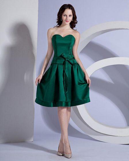 Stylish Strapless Knee-Length Silk Party Dress Bridesmaids Dresses