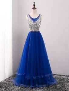 Prickelnde Ballkleider 2016 A-linie U-ausschnitt Perlen Pailletten Königsblau Backless Langes Kleid