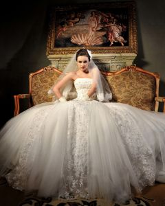 Tulle Organza Lace Beading Applique Strapless Floor Length Chapel Train A-Line Wedding Dress