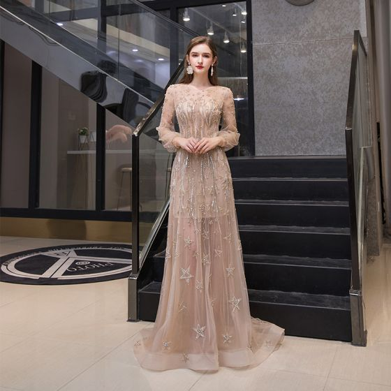 High-end Gold See-through Evening Dresses  2020 A-Line / Princess Scoop Neck Puffy Long Sleeve Star Beading Rhinestone Sweep Train Ruffle Formal Dresses