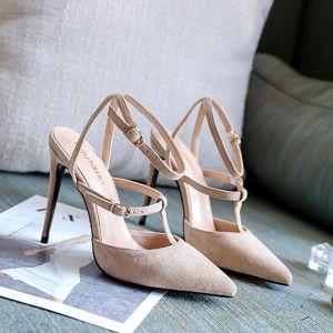 Mode Nude Strassenmode Leder Sandalen Damen 2020 Knöchelriemen 10 cm Stilettos Spitzschuh Sandaletten