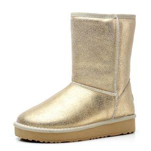 Funkelnd Licht Leder Zur Mitte Der Wade Gold Winter Stiefel Damen