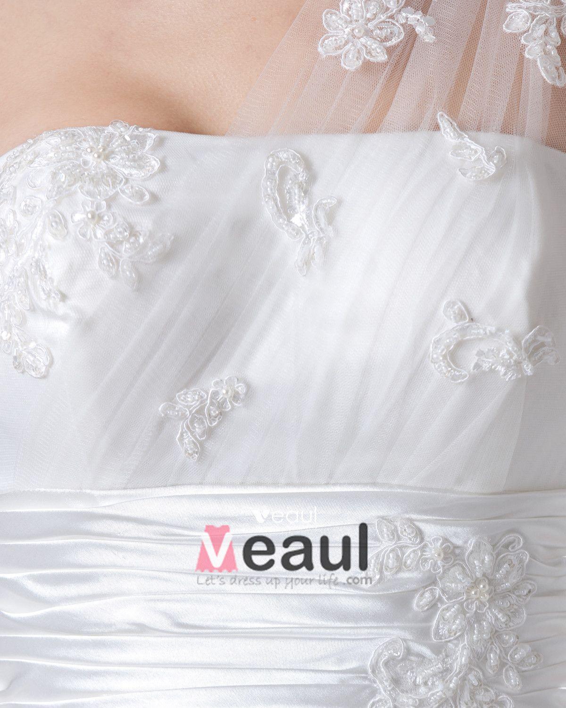 One Shoulder Floor Length Applique Pleated Satin Women Empire Wedding Dress