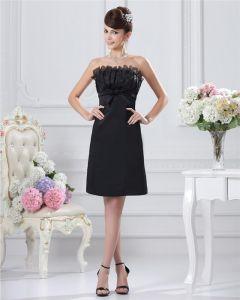 Poco Vestido De Fiesta Negro Hermosa Colmenas Sin Tirantes De La Rodilla-longitud De Satén De Las Mujeres