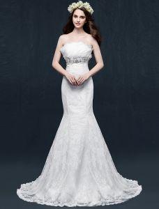 Mermaid Trägerlosen Backless Bördelndes Kristall Rüschen Spitze Hochzeitskleid