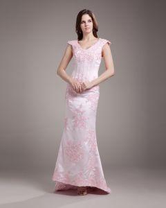V Cou Applique Perles Etage Longueur Satin Robe De Mariée Fourreau