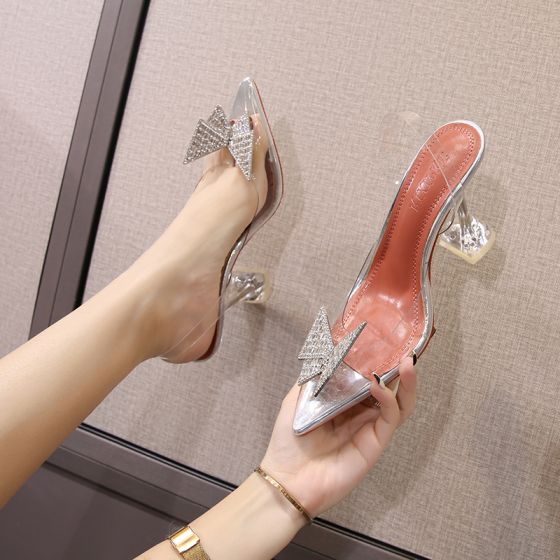 Sexy Silber Cocktail Strass Schmetterling Sandalen Damen 2021 9 cm Stilettos Spitzschuh Sandaletten Hochhackige