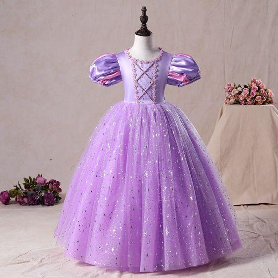 Vintage Lila Geburtstag Blumenmädchenkleider 2020 Prinzessin Rundhalsausschnitt Geschwollenes Kurze Ärmel Perlenstickerei Pailletten Lange Rüschen