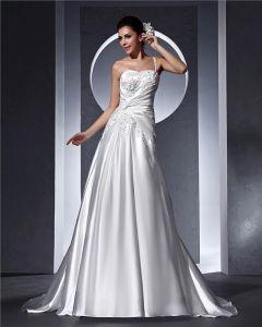Une Epaule Perles Applique Longueur De Plancher De Femme De Satin Une Robe De Mariée En Ligne
