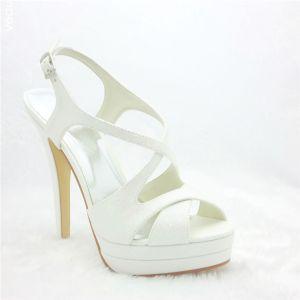 Belle Chaussures De Mariée Stiletto Talon Haut Plateforme De Slingbacks Sandales