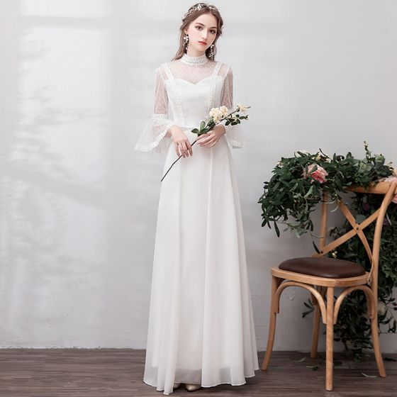 Modern / Fashion White Evening Dresses  2019 A-Line / Princess Long Sleeve Lace Tulle High Neck Appliques Backless Beach Church Formal Dresses