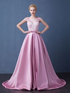 Prom Dress 2016 Deep V-neck Beading Rhinestones Backless Long Formal Dress With Sash