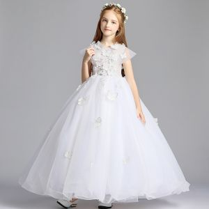 Classy White Flower Girl Dresses 2019 A-Line / Princess V-Neck Sleeveless Butterfly Appliques Lace Pearl Beading Floor-Length / Long Wedding Party Dresses