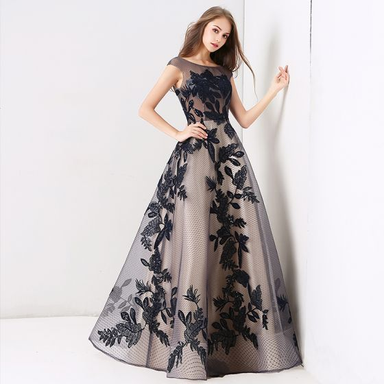 Chic / Beautiful Navy Blue Prom Dresses 2019 A-Line / Princess Scoop Neck Lace Sequins Sleeveless Backless Floor-Length / Long Formal Dresses
