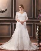 Spitze Applique Sicke V-ausschnitt In Übergröße Brautkleider Hochzeitskleid