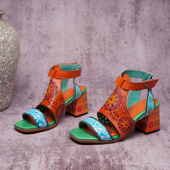 Traditionnel Orange Vêtement de rue Cuir Sandales Femme 2020 5 cm Talons Épais Peep Toes / Bout Ouvert Sandales