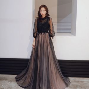 Vintage / Retro Black Evening Dresses  2020 A-Line / Princess See-through High Neck Puffy 3/4 Sleeve Appliques Lace Sequins Beading Floor-Length / Long Ruffle Backless Formal Dresses