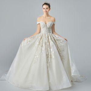 Classy Champagne Wedding Dresses 2019 A-Line / Princess Off-The-Shoulder Short Sleeve Backless Appliques Lace Beading Glitter Tulle Cathedral Train Ruffle